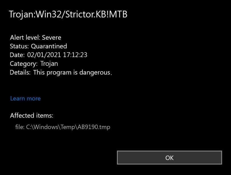 Trojan:Win32/Strictor.KB!MTB found