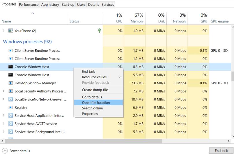 Open the file location of Console Windows Host process