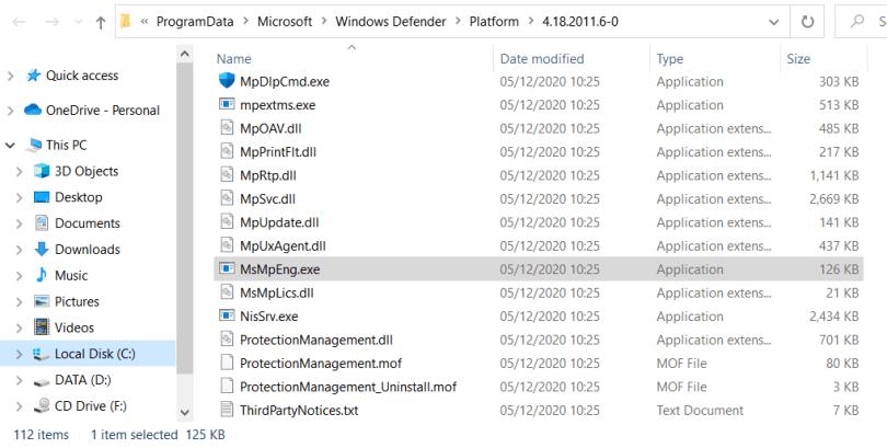 msmpeng.exe folder