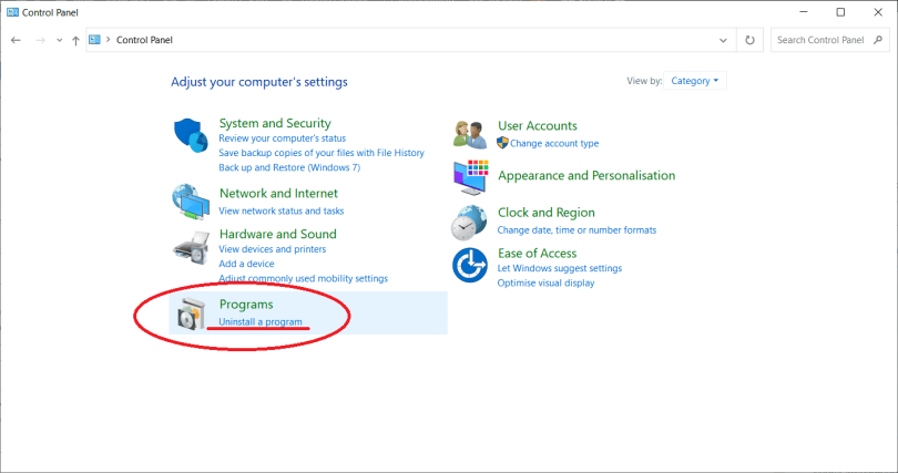 Uninstall a program button in Control Panel