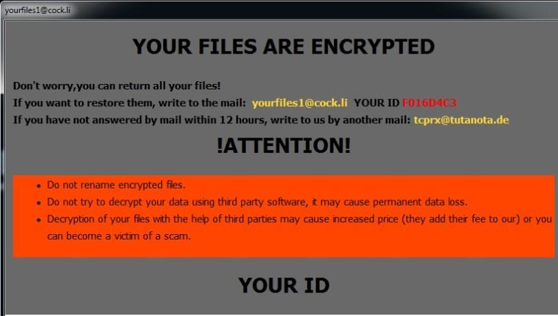 yourfiles1@cock.li NOV Ransomware