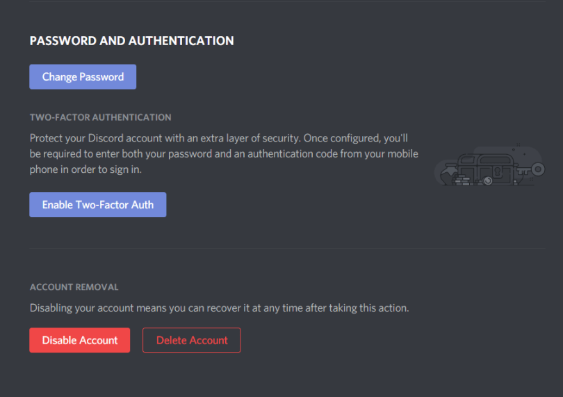 Two-factor autentification in Discord