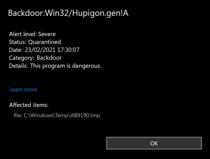Backdoor:Win32/Hupigon.gen!A found