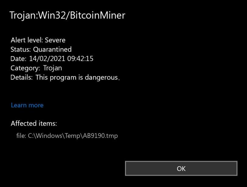 Trojan:Win32/BitcoinMiner found