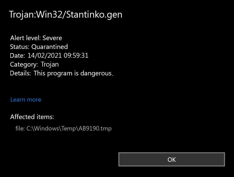 Trojan:Win32/Stantinko.gen found