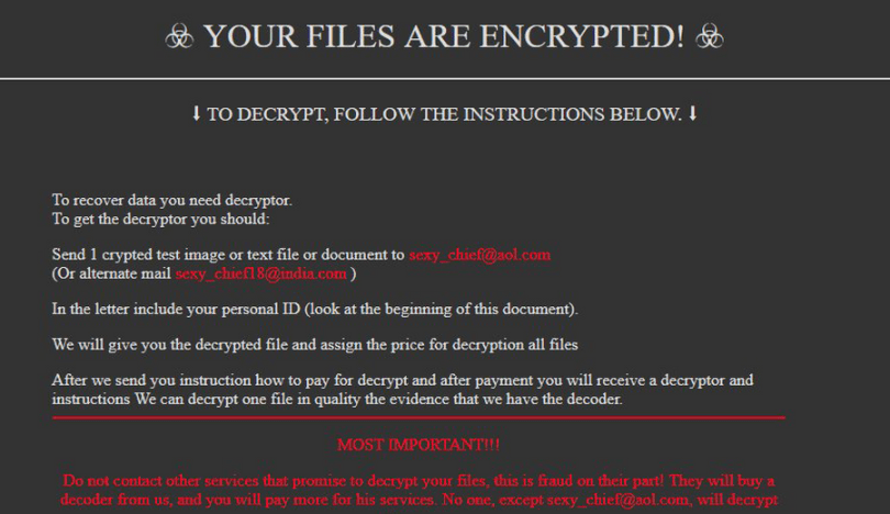Ransomware note with scary warnings