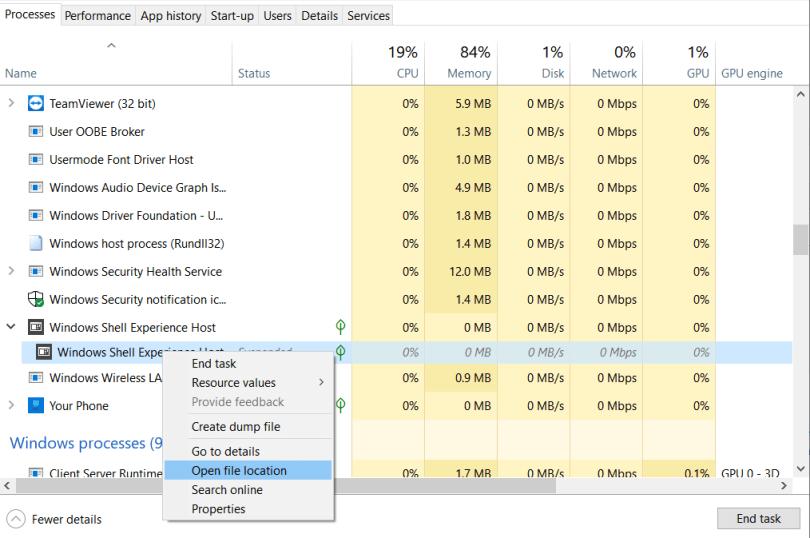 Open Windows Shell Experience Host location