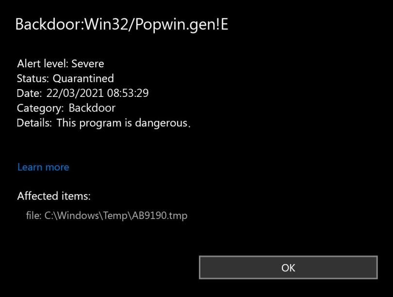 Backdoor:Win32/Popwin.gen!E found