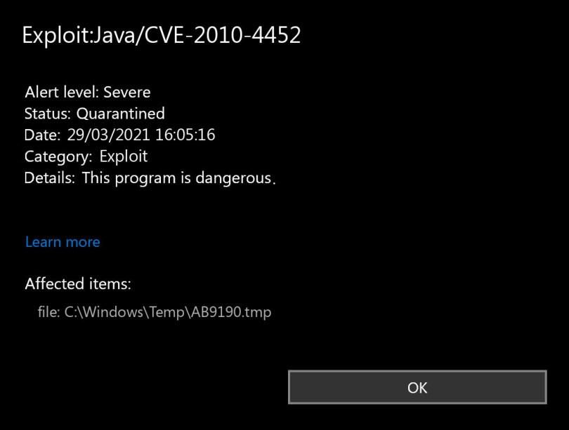 Exploit:Java/CVE-2010-4452 found