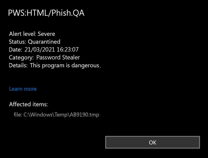 PWS:HTML/Phish.QA found