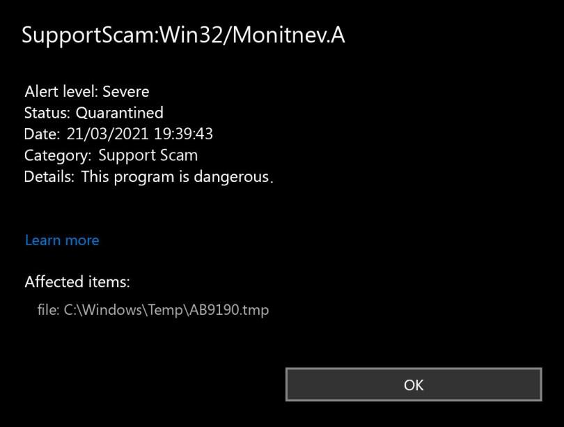 SupportScam:Win32/Monitnev.A found