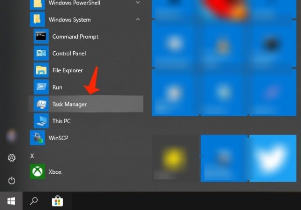 windows task manager menu