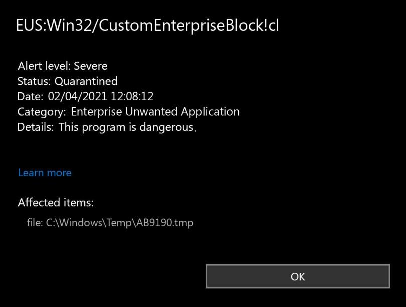 EUS:Win32/CustomEnterpriseBlock!cl found