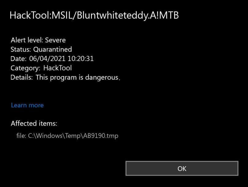 HackTool:MSIL/Bluntwhiteteddy.A!MTB found