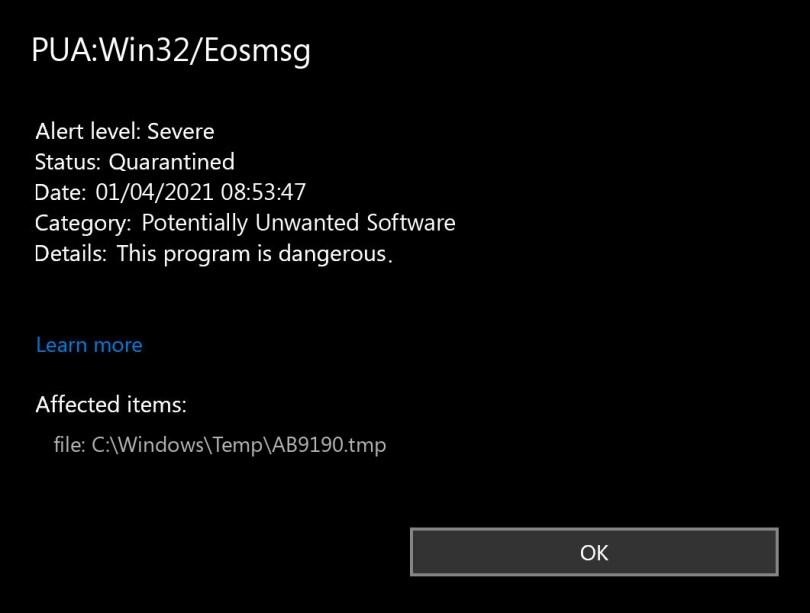 PUA:Win32/Eosmsg found