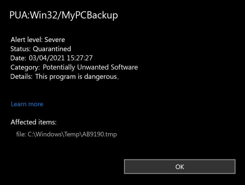 PUA:Win32/MyPCBackup found