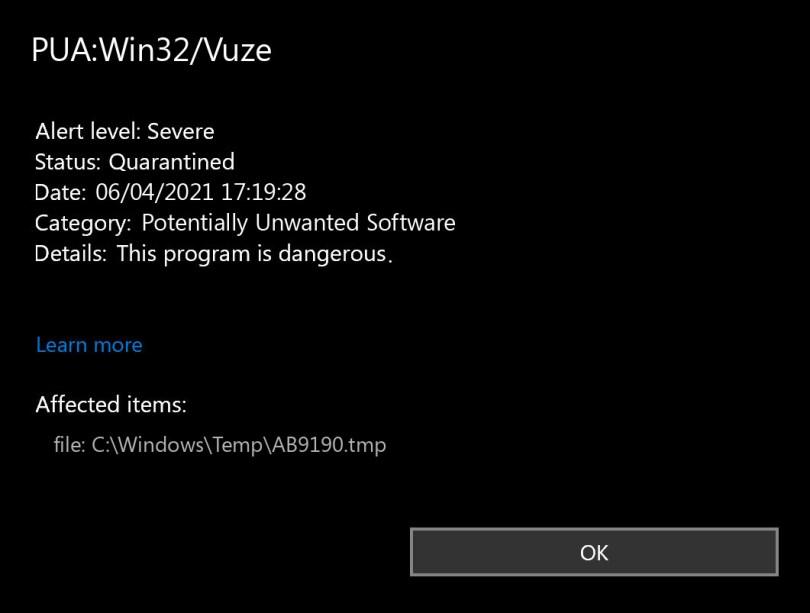 PUA:Win32/Vuze found