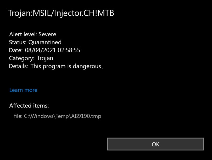 Trojan:MSIL/Injector.CH!MTB found