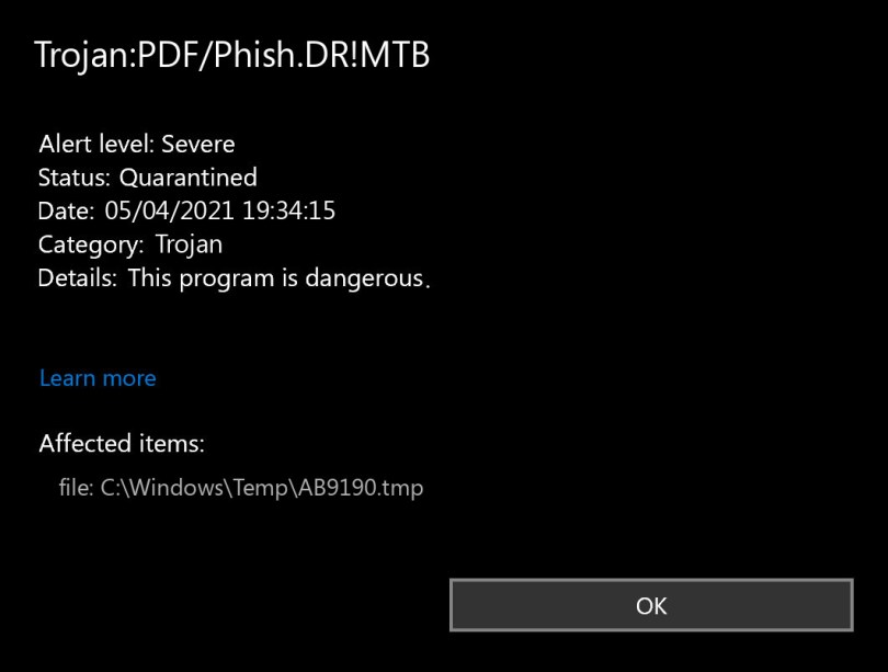 Trojan:PDF/Phish.DR!MTB found