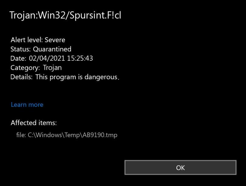 Trojan:Win32/Spursint.F!cl found