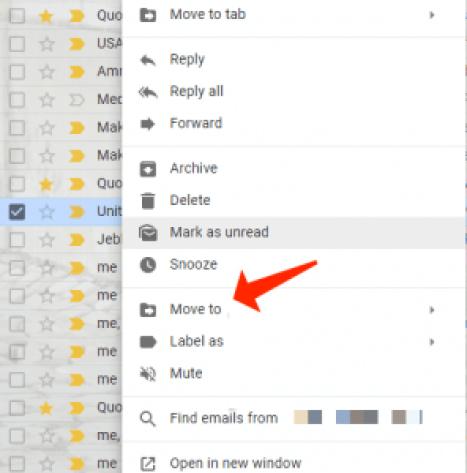 mover el menú de gmail a spam