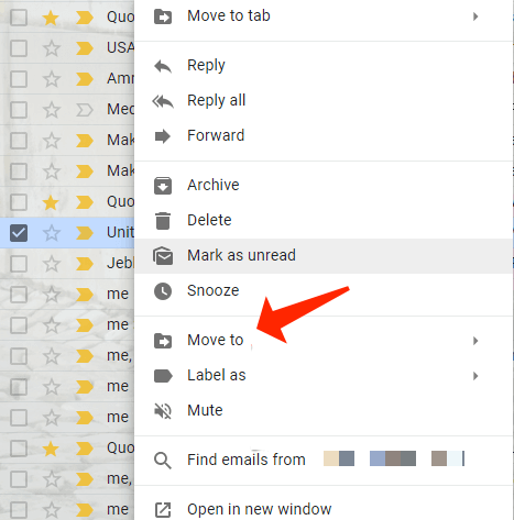 gmail menu move to spam