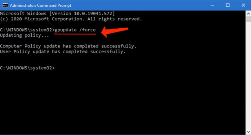 windows CMD gpupdate force