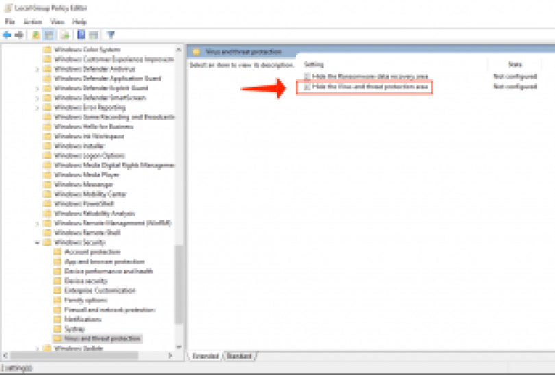 Windowsローカルグループポリシーエディター-ウイルスと脅威の保護を非表示にする