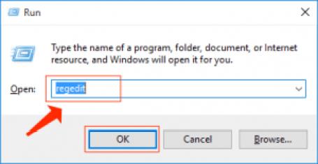 Windowsはregeditを実行します