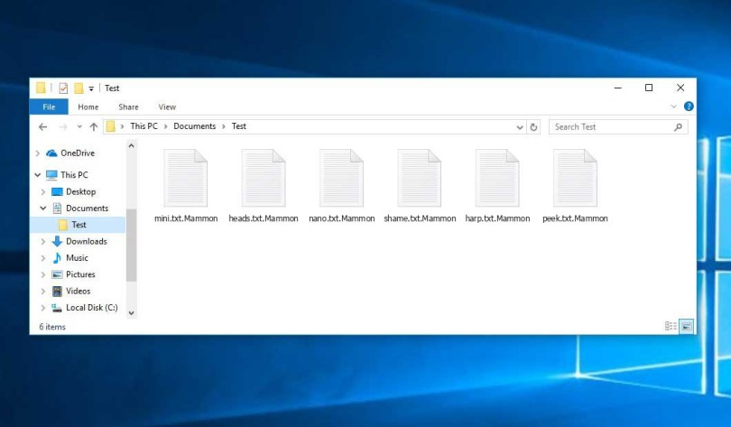 Mammon Virus - encrypted .mammon files