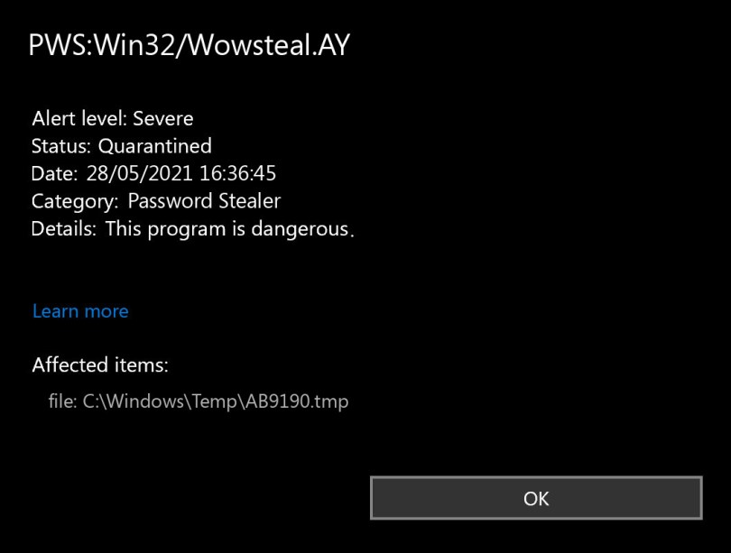 PWS:Win32/Wowsteal.AY found