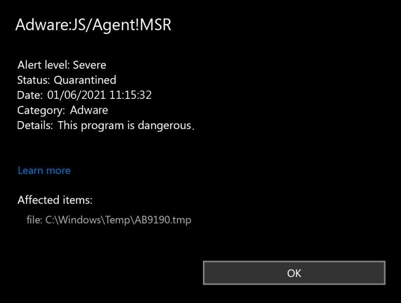 Adware:JS/Agent!MSR found