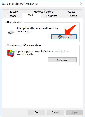 disk properties - error checking