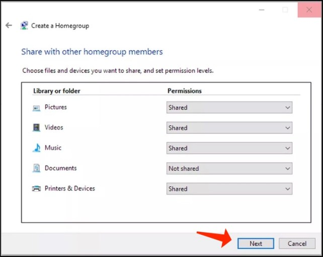 windows 10 - homegroup select resources
