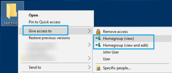 file sharing - homegroup view