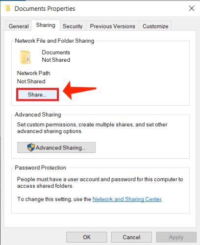 folder properties share button