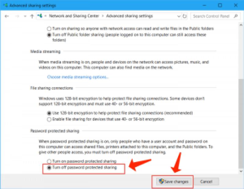 Windows 10: desactiva el uso compartido protegido con contraseña