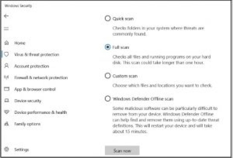 Defensora de windows - escaneo completo