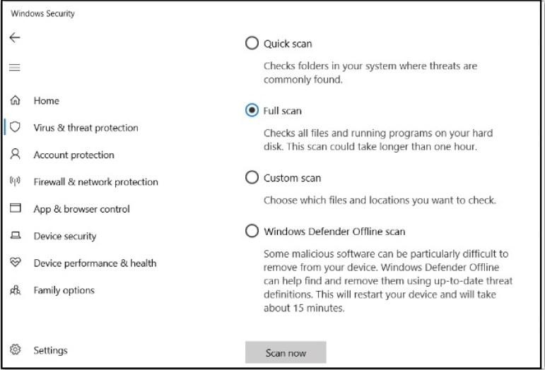 windows defender - full scan