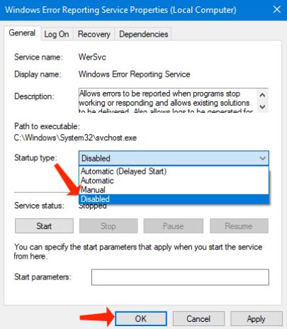 windows error reporting service - disables