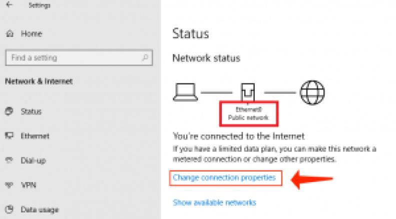 Windows10-接続プロパティを変更する