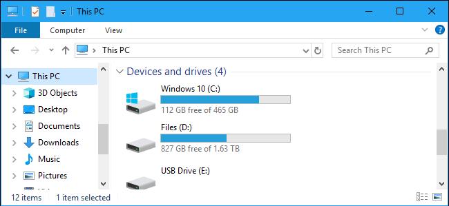 windows 10 file explorer - this PC