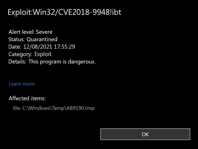 Exploit:Win32/CVE2018-9948!ibt found
