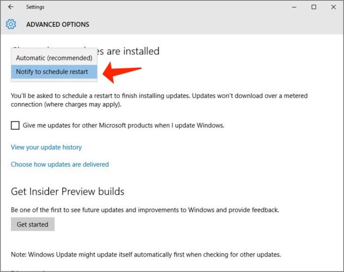 advanced options - notify to schedule restart