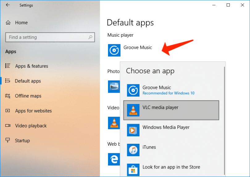 default apps - set groove music