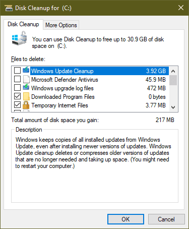 windows 10 issues - disk cleanup