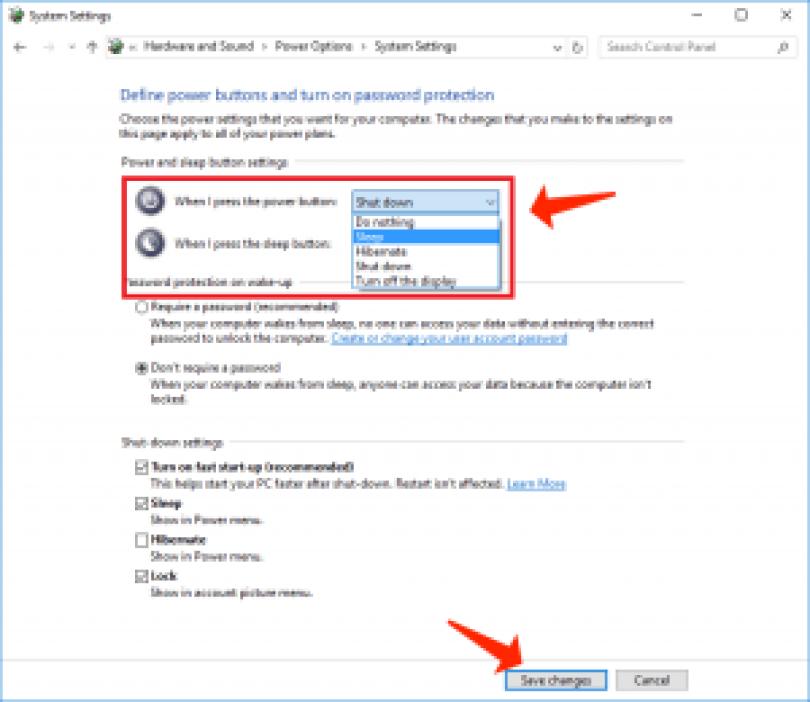 Windows 10 - configuración de los botones de encendido