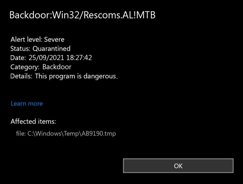 Backdoor:Win32/Rescoms.AL!MTB found