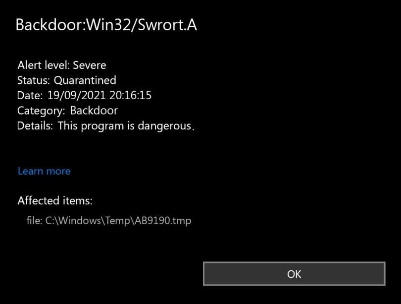 Backdoor:Win32/Swrort.A found