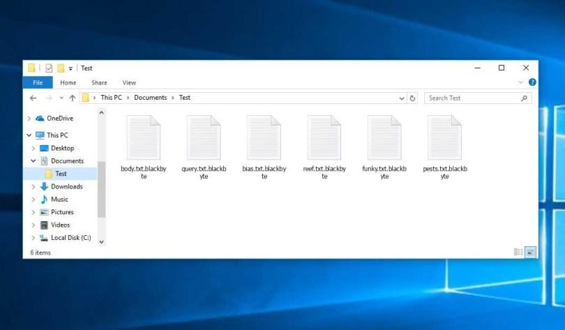 Blackbyte Virus - encrypted .blackbyte files